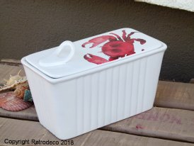 Large ceramic terrine dish Crab, seaside style, Sphere Inter