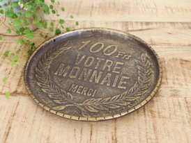 Returned change plate Francs, antique decor, Antic Line