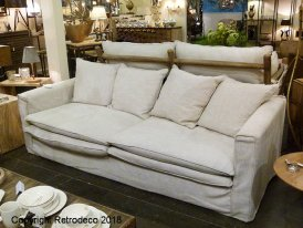 Natural linen sofa 3 places Living, Chehoma