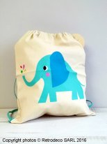 Elvis the Elephant drawstring bag, vintage style