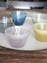 Set of 5 glass bowls 5 assortided colour handblown Ib Laursen