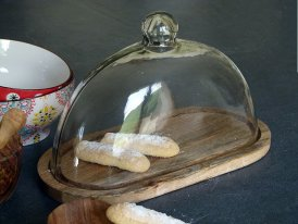 Oval cake tray with a glass dome Chehoma