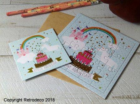 Carte Puzzle Joyeux Anniversaire Gateau Isabelle Chauvet Puz2