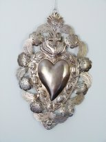 Large silver metal ex-voto to be suspended heart and flowers