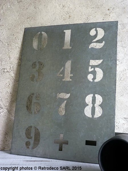 Metal sheet numbers zinc, factory deco, Ib Laursen