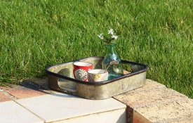Small square zinc tray, country decor, Antic Line