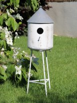 Tripod metal bird house, country decor, Chehoma