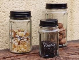 Set of glass jars Cuisine, Antique decor, Antic Line