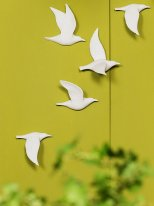 Set of 5 porcelain birds, shabby decor, Chehoma