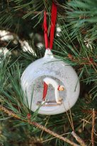 Glass christmas White skier Chehoma