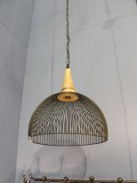 Metal and wooden hanging lamp Bornéo Chehoma