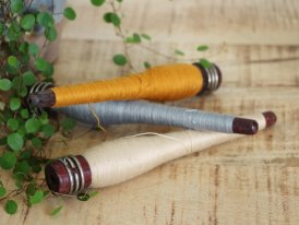 Set of 3 old textile bobbins Unique, antique decor, Ib Laursen