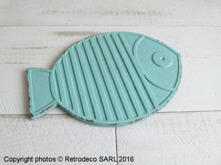 Medium blue metal table mat Fish, seaside style, Chehoma