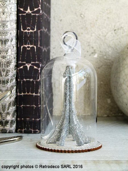 Eiffel Tower under a bell jar, cosy deco, Sphere Inter