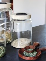 Medium glass jar with wooden lid, natural style, Athezza