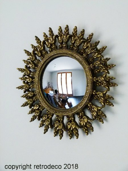 Witch's mirror sun antique gold, antique style, Chehoma
