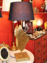 Antique gold resin light Wings with her lampshade Chehoma
