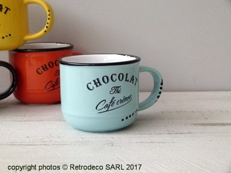 Ceramic chocolate cup Cappuccino blue, bistro style, Antic Line