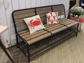 Metal and wooden bench with racks, antique decor, Chehoma