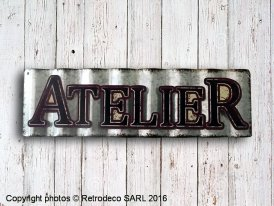 Metal sign Atelier, factory deco, Antic Line