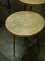 Hammered antique gold metal small side table Macana, Hanjel