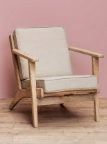 Mango and linen fabric armchair Théra, country decor, Chehoma