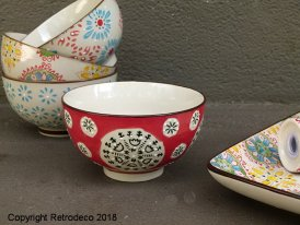 Small ceramic bowl Bohemian red and green Chehoma
