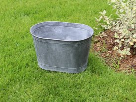 Small zinc oval pot Urban Garden high Ib Laursen
