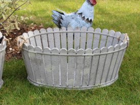 Medium grey wooden pot with rope handles