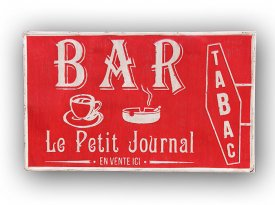 XXL metal sign Bar Tabac, bistro style, Antic Line