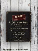 Metal Sign Crèche pour Papas, bistro style, Antic Line