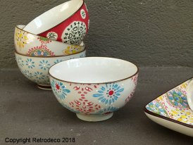 Small ceramic bowl Bohemian blue and red Chehoma