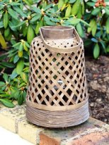 Lantern tall bamboo w/glass holder Ib Laursen