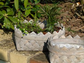 Small seagrass rectangular flower pot, countryside style
