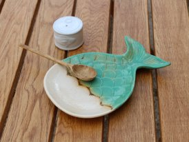 Ceramic aperitif plate Whale blue, seaside decor, Chehoma