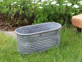 Small zinc oval pot with stripes, country decor