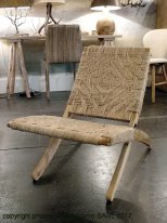 Wooden and hemp armchair foldable, natural style, Chehoma