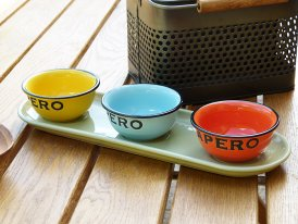 Ceramic tray with 3 bowls Apero, bistro style, Antic Line