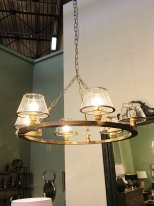 Brass metal chandelier 6 glass lampshade, antique style, Chehoma