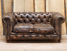 Sofa leather St James 2 seats, Chehoma, antique style
