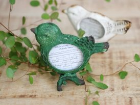 Mini photoframe antique green bird, cosy style, Chehoma
