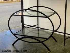 Glass and black metal console Sphere Hanjel
