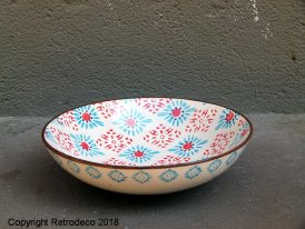 Ceramic pastas plate Bohemian blue and red flowers Chehoma