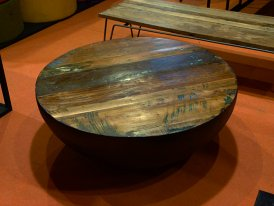 Round wooden and metal coffee table Half Hanjel