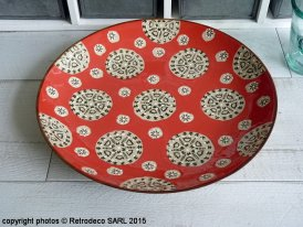 Plate Bohemian pattern red and green, Chehoma