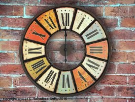 Wooden and metal clock multicolor, antique deco, Antic Line