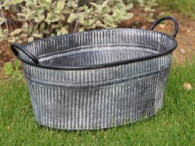 Medium zinc oval pot with handles, country decor