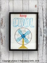 Picture Keep Cool with frame, vintage style, Retrodeco