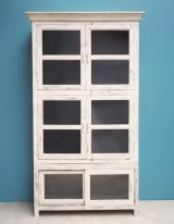 Antique white wooden and glass cabinet Montravel Chehoma
