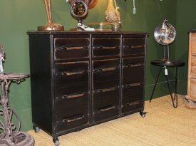 Antic black metalic chest of drawers Lupin, factory decor